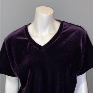 White Stag Purple Velvet V-neck Tee